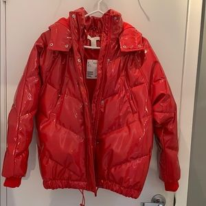 Red patent jacket